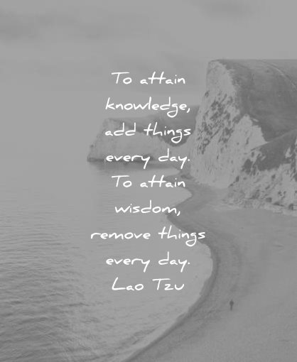 knowledge quotes attain add things every day attain wisdom remove things lao tzu wisdom