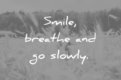 smile quotes smile breathe and go slowly thich nhat hanh wisdom quotes